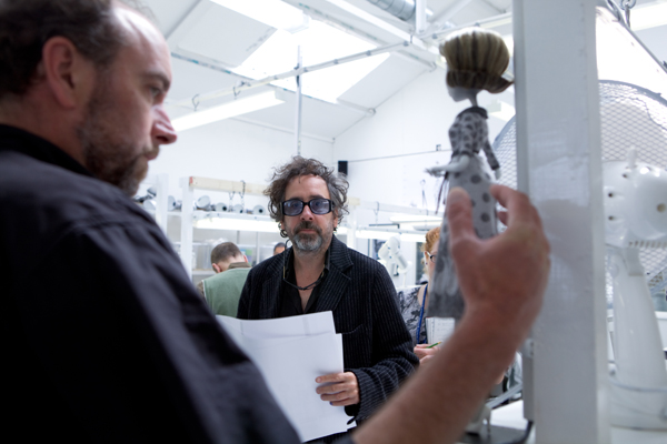 Animation Director Trey Thomas holds up the Mom puppet for Director Tim Burton to review in the Puppet Hospital. ©2012 Disney Enterprises, Inc. All Rights Reserved.  Photo by: Leah Gallo