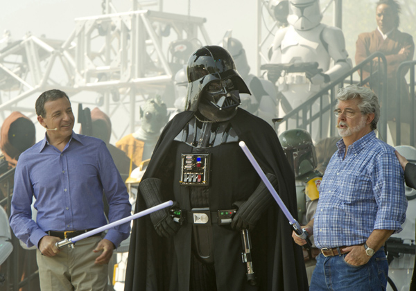 "Disney CEO Bob Iger and ""Star Wars"" Creator George Lucas at Walt Disney World"