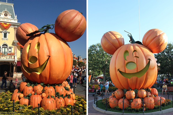The larger-than-life Mickey pumpkin smiles as you enter2 and winks as you leave!