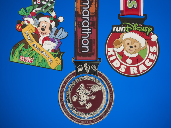 5th anniversary collection of the Disney Wine and Dine Half Marathon Weekend finisher medals