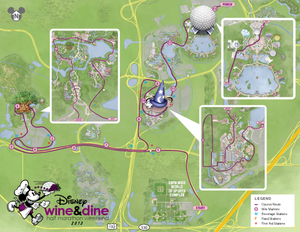 runDisney Wine and Dine Half Marathon course map