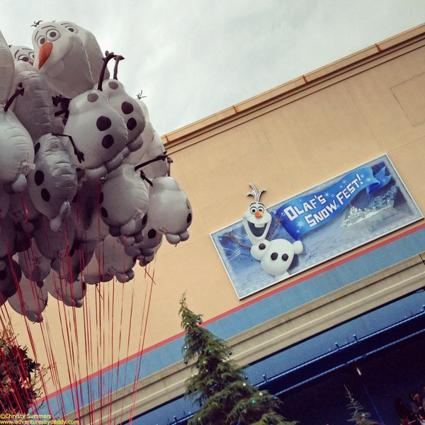 Olaf balloons sold just outside Olaf's Snow Fest.