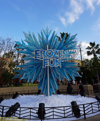 Frozen Fun signage outside of Hollywood Land in Disney California Adventure.