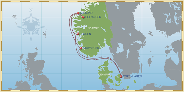 Disney Cruise Line 7-night Norwegian Fjord Itinerary