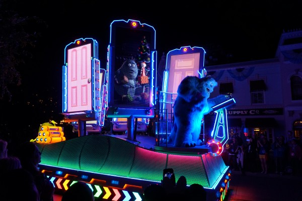 Each door on the Monsters, Inc. float is a video screen. You never know who'll be on the other side! (photo by Chrysty Summers)