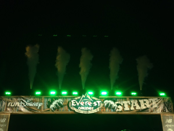Expedition Everest Challenge Start Line with Smoke Flares