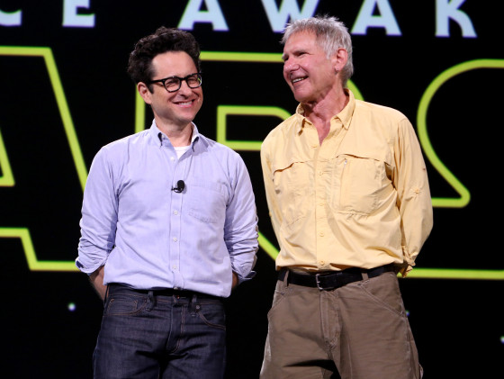 J.J. Abrams and Harrison Ford