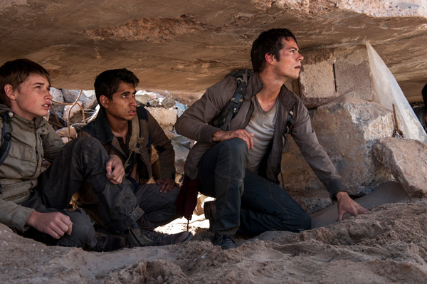 (left to right) Aris (Jacob Lofland), Winston (Alex Flores) and Thomas (Dylan O'Brien), make their way through the Scorch. Photo by Richard Foreman, Jr. TM and © 2015 Twentieth Century Fox Film Corporation.  All Rights Reserved.