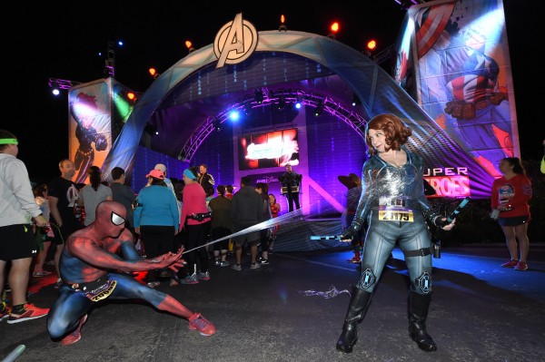 Runners assemble! It is not uncommon to see runners at the Avengers Super Heroes Half Marathon at Disneyland test their super powers before the big race.