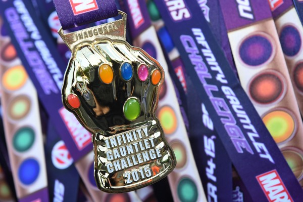 (Nov. 15, 2015) New this year, is the Captain America 10k race, runners who sign up and complete both the 10k and the half receive an additional Infinity Gauntlet medal for their Run Disney treasure chest.