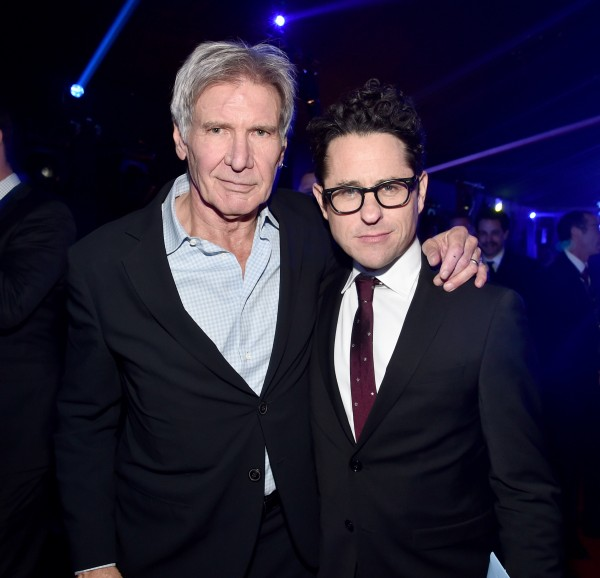 HOLLYWOOD, CA - DECEMBER 14:  Actor Harrison Ford (L) and director J.J. Abrams attend the after party for the World Premiere of ?Star Wars: The Force Awakens? on Hollywood Blvd on December 14, 2015 in Hollywood, California.  (Photo by Alberto E. Rodriguez/Getty Images for Disney) *** Local Caption *** Harrison Ford; J.J. Abrams