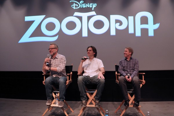Directors Rich Moore & Byron Howard and Producer Clark Spencer present at the Zootopia Long Lead Press Days on October 27, 2015 at the Walt Disney Studios Tujunga Campus. (Photo by Alex Kang. ©2015 Disney. All Rights Reserved.)