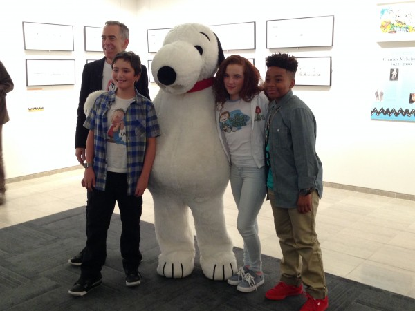 Steve Martino, Alex Garfin, Snoopy, Venus Schultheis, and Marelik Walker