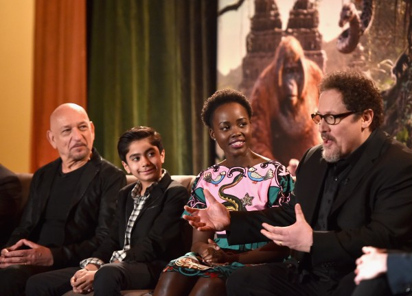 "(L-R) Actors Sir Ben Kingsley, Neel Sethi, Lupita Nyong'o and director Jon Favreau onstage at Disney's ""THE JUNGLE BOOK"" Press Conference at The Beverly Hilton on April 4, 2016 in Los Angeles, California.  (Photo by Alberto E. Rodriguez/Getty Images for Disney)"